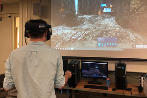 student in VR classroom